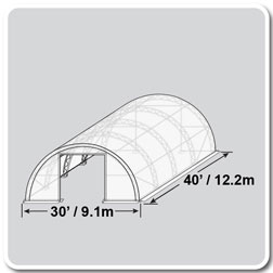30'W x 40'L x 15'H Crestline Double Truss Arch Shelter, Arched Side