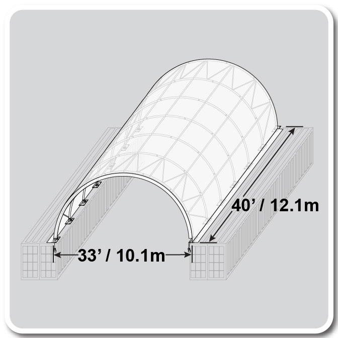 33 X 40 Crestline Truss Arch Fabric Structure Shipping
