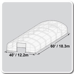 40'W x 60'L x 19'H Crestline Double Truss Arch Shelter, Vertical Side