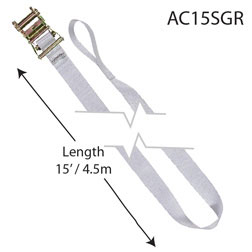 "2"" x 15' White Ratchet Strap"