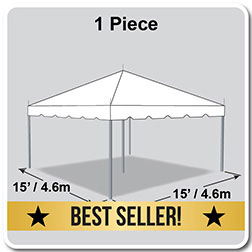 15' x 15' Classic Series Pole Tent, 1 Piece Tent Top, Complete
