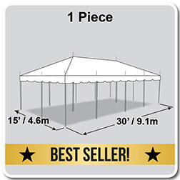 15' x 30' Classic Series Pole Tent, 1 Piece Tent Top, Complete