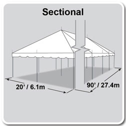 20' x 90' Classic Series Pole Tent, Sectional Tent Top, Complete