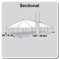 30' x 120' Classic Series Pole Tent, Sectional Tent Top, Complete