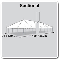 30' x 150' Classic Series Pole Tent, Sectional Tent Top, Complete