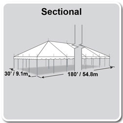 30' x 180' Classic Series Pole Tent, Sectional Tent Top, Complete