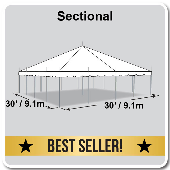 30 39 x 30 39 sectional classic series pole tent. Black Bedroom Furniture Sets. Home Design Ideas
