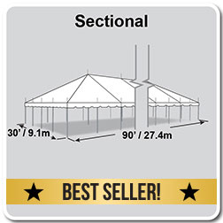 30' x 90' Classic Series Pole Tent, Sectional Tent Top, Complete