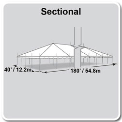 40' x 180' Classic Series Pole Tent, Sectional Tent Top, Complete