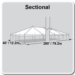 40' x 260' Classic Series Pole Tent, Sectional Tent Top, Complete