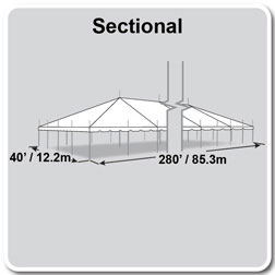 40' x 280' Classic Series Pole Tent, Sectional Tent Top, Complete