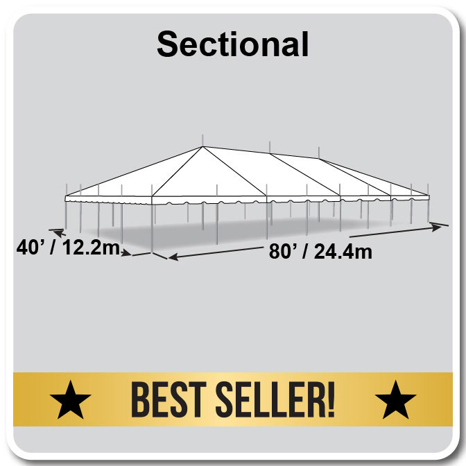 Classic series pole tent 40 x 80 for Miroir 40 x 80