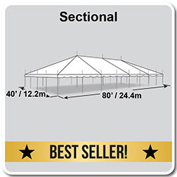 40' x 80' Classic Series Pole Tent, Sectional Tent Top, Complete