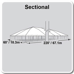 60' x 220' Classic Series Pole Tent, Sectional Tent Top, Complete