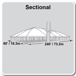 60' x 240' Classic Series Pole Tent, Sectional Tent Top, Complete