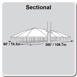 60' x 360' Classic Series Pole Tent, Sectional Tent Top, Complete