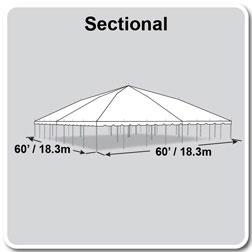 60' x 60' Classic Series Pole Tent, Sectional Tent Top, Complete