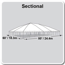 60' x 80' Classic Series Pole Tent, Sectional Tent Top, Complete