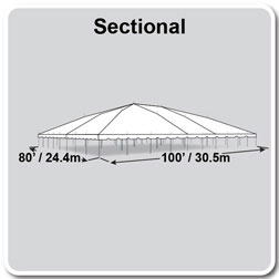 80' x 100' Classic Series Pole Tent, Sectional Tent Top, Complete