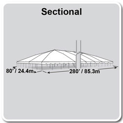 80' x 280' Classic Series Pole Tent, Sectional Tent Top, Complete