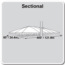 80' x 400' Classic Series Pole Tent, Sectional Tent Top, Complete