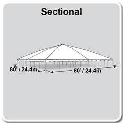 80' x 80' Classic Series Pole Tent, Sectional Tent Top, Complete