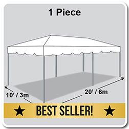 10' x 20' Classic Series Frame Tent, 1 Piece Tent Top, Complete