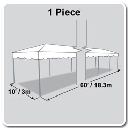 10' x 60' Classic Series Frame Tent, 1 Piece Tent Top, Complete