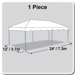 12' x 24' Classic Series Frame Tent, 1 Piece Tent Top, Complete