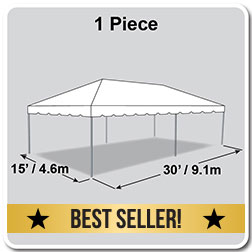 15' x 30' Classic Series Frame Tent, 1 Piece Tent Top, Complete