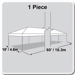 15' x 60' Classic Series Frame Tent, 1 Piece Tent Top, Complete