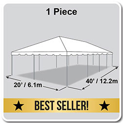 20' x 40' Classic Series Frame Tent, 1 Piece Tent Top, Complete