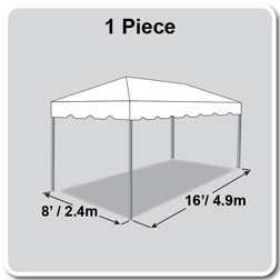 8' x 16' Classic Series Frame Tent, 1 Piece Tent Top, Complete