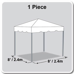 8' x 8' Classic Series Frame Tent, 1 Piece Tent Top, Complete