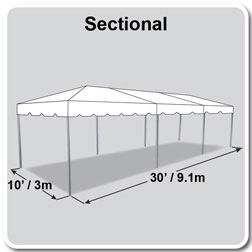 10' x 30' Classic Series Frame Tent, Sectional Tent Top, Complete