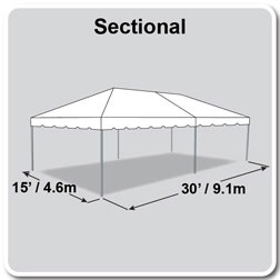15' x 30' Classic Series Frame Tent, Sectional Tent Top, Complete