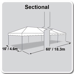 15' x 60' Classic Series Frame Tent, Sectional Tent Top, Complete
