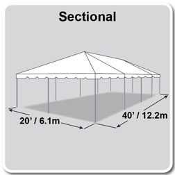 20' x 40' Classic Series Frame Tent, Sectional Tent Top, Complete