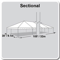 30' x 105' Classic Series Frame Tent, Sectional Tent Top, Complete