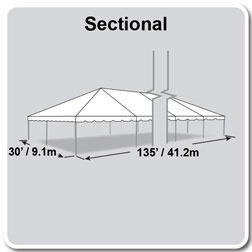 30' x 135' Classic Series Frame Tent, Sectional Tent Top, Complete