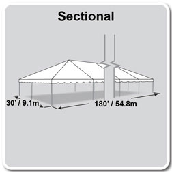 30' x 180' Classic Series Frame Tent, Sectional Tent Top, Complete