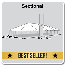 40' x 100' Classic Series Frame Tent, Sectional Tent Top, Complete