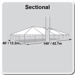 40' x 140' Classic Series Frame Tent, Sectional Tent Top, Complete