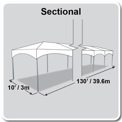 10' x 130' Master Series Frame Tent, Sectional Tent Top, Complete