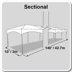 10' x 140' Master Series Frame Tent, Sectional Tent Top, Complete