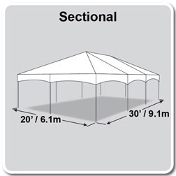 20' x 30' Master Series Frame Tent, Sectional Tent Top, Complete