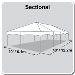 20' x 40' Master Series Frame Tent, Sectional Tent Top, Complete