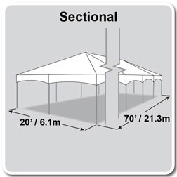 20' x 70' Master Series Frame Tent, Sectional Tent Top, Complete