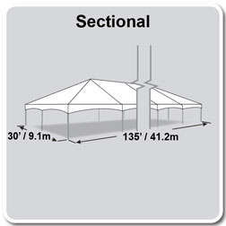 30' x 135' Master Series Frame Tent, Sectional Tent Top, Complete