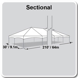 30' x 210' Master Series Frame Tent, Sectional Tent Top, Complete